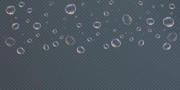Sammlung realistischer seifenblasen