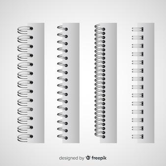 Sammlung realistischer spiralen für notizbuch