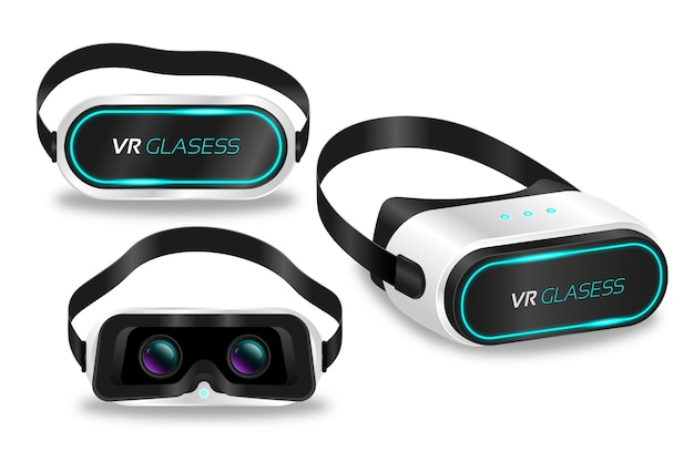 Sammlung realistischer virtual-reality-headsets