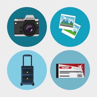 Sammlung reisen ausrüstung konzept