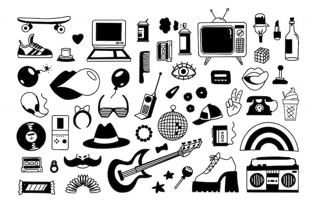 Sammlung retro-ikonenelemente im trendigen handgezeichneten cartoon-stil der 80er-90er jahre.