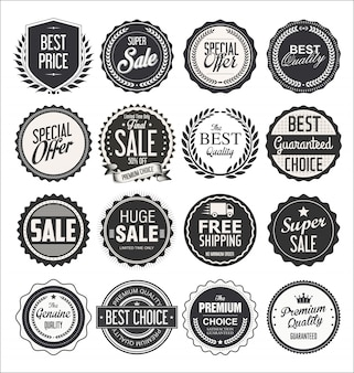 Sammlung retro- weinleseabzeichen