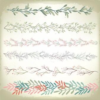 Sammlung romantische blumenkranz-teiler der weinlese. hochzeit vektor hintergrund