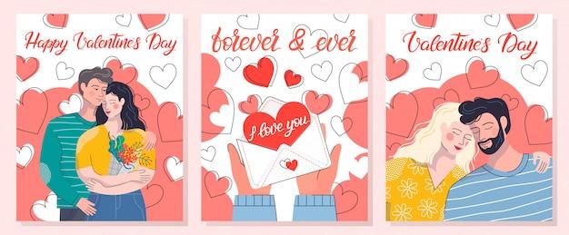 Sammlung romantischer illustrationen mit liebesbrief, umarmenden paaren und herzhintergründen. nette zeichentrickfiguren. perfekt für grußkarten, drucke, flyer, poster, einladungen und mehr.