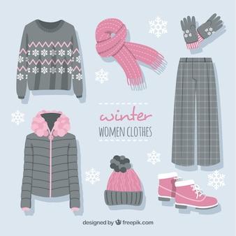 Sammlung rosa und graue winterkleidung