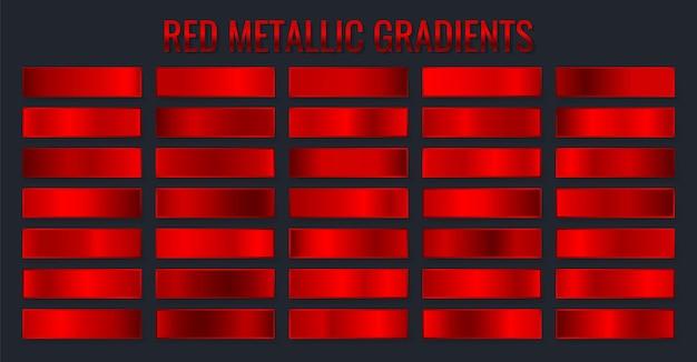 Sammlung rote metallische farbverläufe, chrom-weihnachtsverlaufssatz.