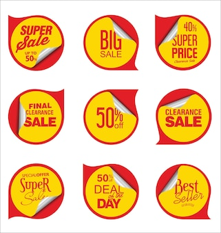 Sammlung rote verkaufsaufkleber und -anhänger