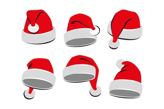 Sammlung rote weihnachtsmann-hüte. vektor-illustration. eben
