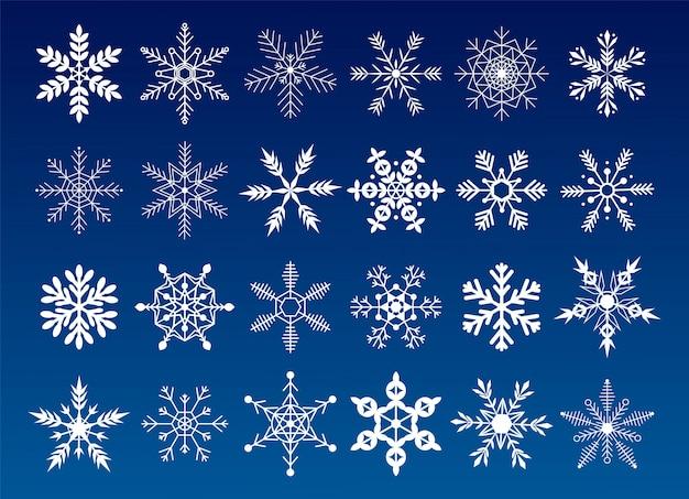 Sammlung schneeflocken. flache schneeikonen, schattenbild. nettes element für weihnachtsfahne, karten. verzierung des neuen jahres.