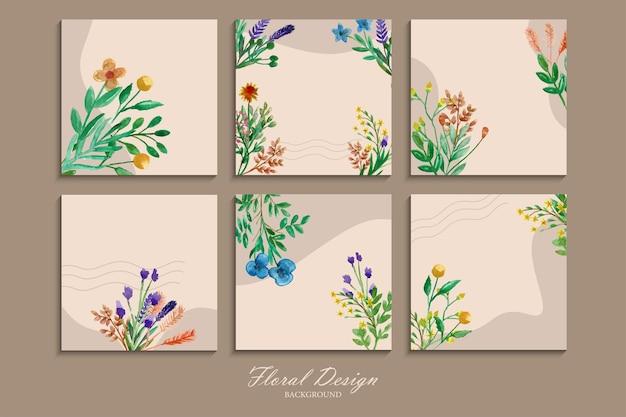 Sammlung schöner und farbenfroher wildblumen-wandbehänge mit aquarell