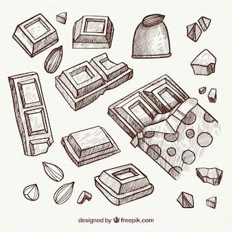 Sammlung schokoriegel in der skizzenart