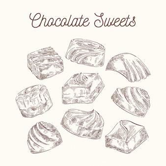 Sammlung skizzenschokoladenbonbons