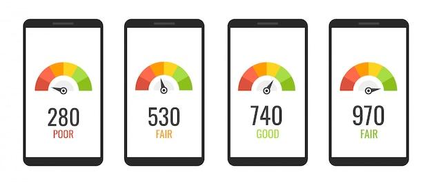 Sammlung smartphones mit kredit-score-app auf dem bildschirm in flachen stil