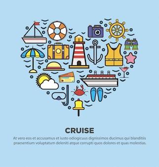 Sammlung sommerelemente mit dem symbolisieren des restes, küste, segeln auf yacht