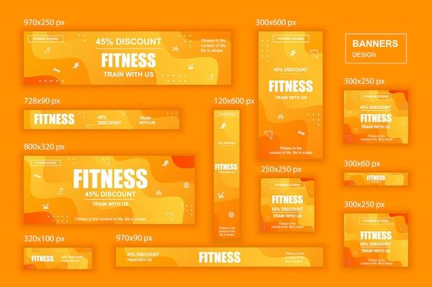 Sammlung sozialer netzwerke web-banner in verschiedenen größen für fitness-studio-anzeigen