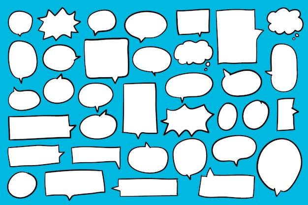 Sammlung spracheluftblasen auf blauem hintergrundvektor
