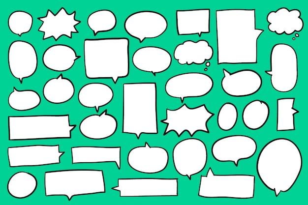 Sammlung spracheluftblasen auf grünem hintergrundvektor