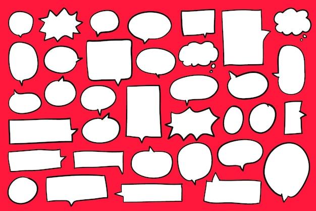 Sammlung spracheluftblasen auf rotem hintergrundvektor