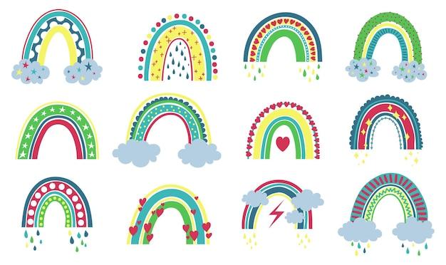Sammlung süße regenbögen mit blumen in pastellfarben auf weißem hintergrund