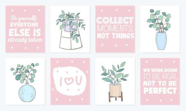 Sammlung süßer karten mit zimmerpflanzen in töpfen poster mit entzückenden objekten im hintergrund