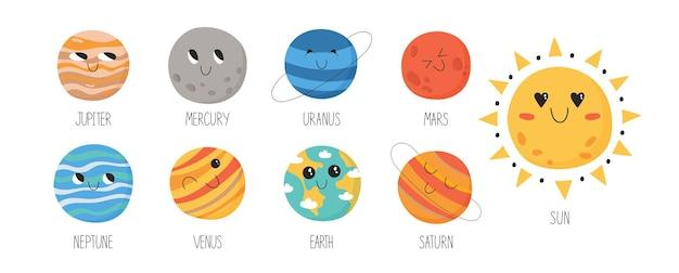 Sammlung süßer planeten des sonnensystems für kinder