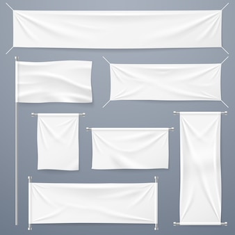 Sammlung textilbanner. horizontale, vertikale banner und flagge des weißen leeren stoffes.