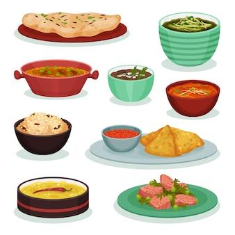 Sammlung traditioneller indischer lebensmittel, chapati, roti, dahi maach, samosa, palak paneer illustration auf einem weißen hintergrund