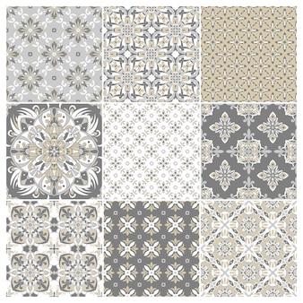 Sammlung traditioneller verzierter portugiesischer fliesen azulejos. ethnische volksverzierung.