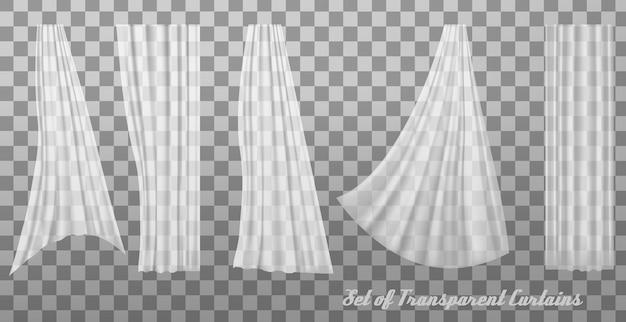 Sammlung transparenter vorhänge. vektor