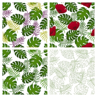 Sammlung tropischer nahtloser muster mit palmblättern auf weißem hintergrund. endlose texturen für verpackung, werbung, design. illustration.