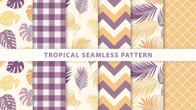 Sammlung tropisches nahtloses muster