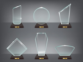 Sammlung Vektor-Illustration der modernen Glas-Trophäen, Preise