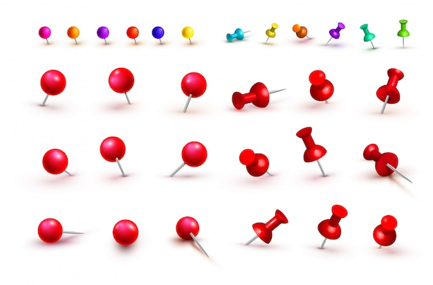 Sammlung verschiedene rote und bunte stoßstifte. reißzwecken. ansicht von oben. vorderansicht. nahansicht. vektor-illustration isoliert