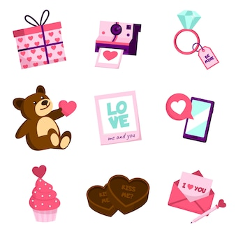 Sammlung verschiedene valentinstagelemente