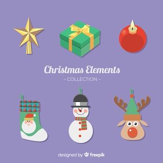 Sammlung verschiedene Weihnachtselemente in der flachen Art