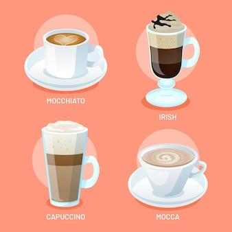 Sammlung verschiedener arten von köstlichem kaffee