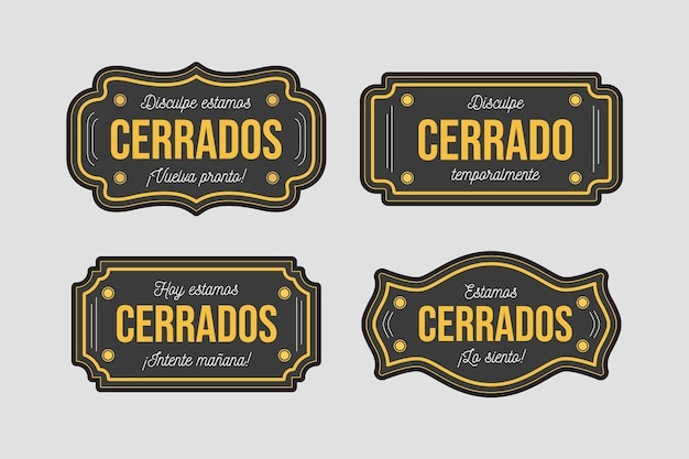 Sammlung verschiedener cerrado-schilder