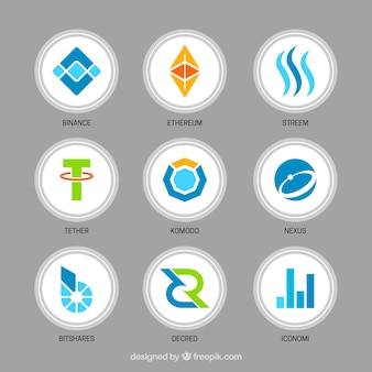 Sammlung verschiedener cryptocurrency münzen