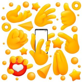 Sammlung verschiedener emoji-gelbe handsymbole mit gebetszeichen, smartphone-schlag und anderen gesten. 3d-cartoon-stil.