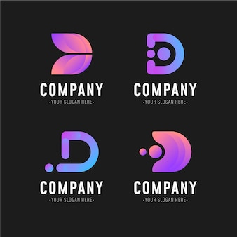 Sammlung verschiedener farbverlaufs-d-logos