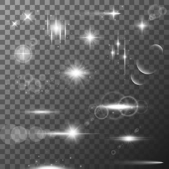 Sammlung verschiedener flare-lichteffekte.