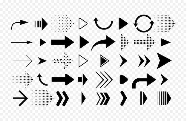 Sammlung verschiedener formpfeile. satz pfeile symbole lokalisiert auf weißem hintergrund.