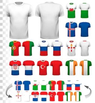 Sammlung verschiedener fußballtrikots. das t-shirt ist transparent und kann als vorlage mit eigenem design verwendet werden. vektor.