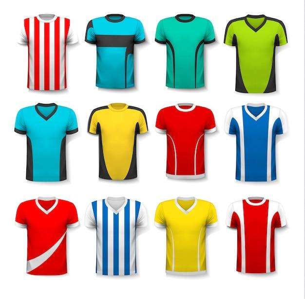 Sammlung verschiedener fußballtrikots. das t-shirt ist transparent und kann als vorlage mit eigenem design verwendet werden.