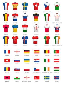 Sammlung verschiedener fußballtrikots und länderflaggen. vektor.