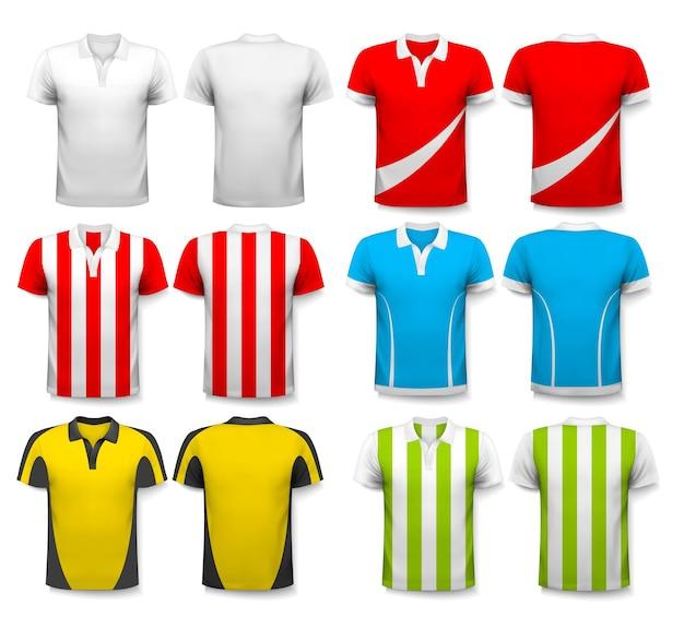 Sammlung verschiedener fußballtrikots.
