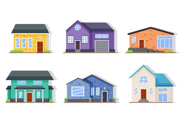 Sammlung verschiedener häuser mit garage
