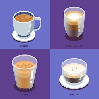 Sammlung verschiedener kaffeesorten