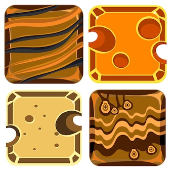 Sammlung verschiedener materialien und texturen