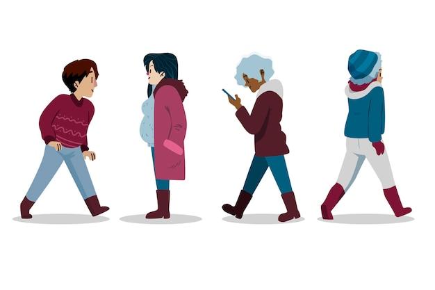 Sammlung verschiedener personen in kuscheliger kleidung im winter